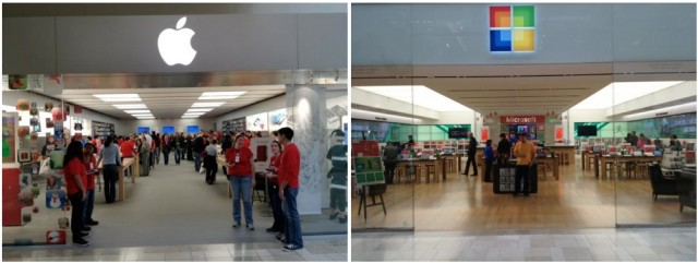 the apple store vs. Microsoft store