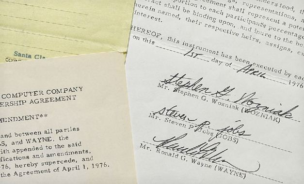 The signatures on Apple's founding contract