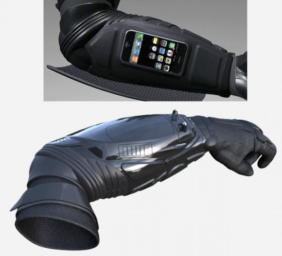 the batman inspired kevlar gauntlet is both an iphone dock
