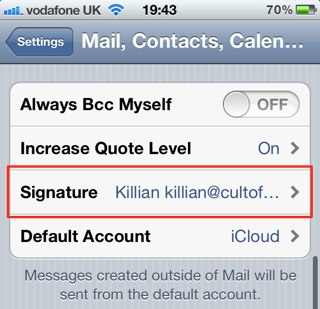 message signature text Iphone