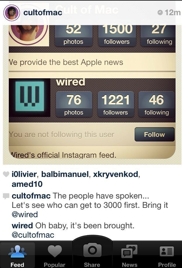 Wired Doesn\'t Think Cult of Mac Can Beat Them To 3000 Instagram ...