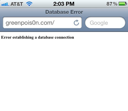 Error Establishing A Database Connection iPhone 4S