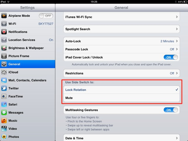 How to set auto rotate in iphone 5s