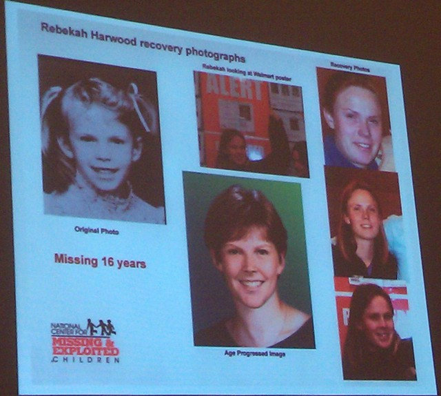 Rebekah Harwood (left) recognized herself in the digitally-aged composite (center.)
