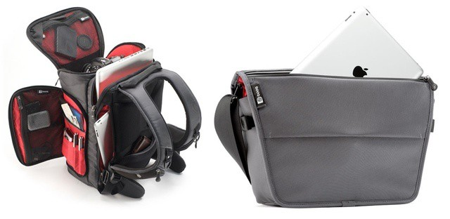 The Pack (left) and the Courier carry your MacBook along with your camera