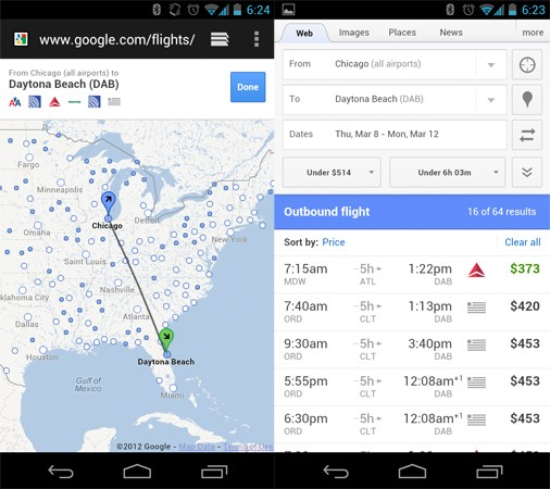 Google's Flight Search Goes Mobile, Available Now On Both Android