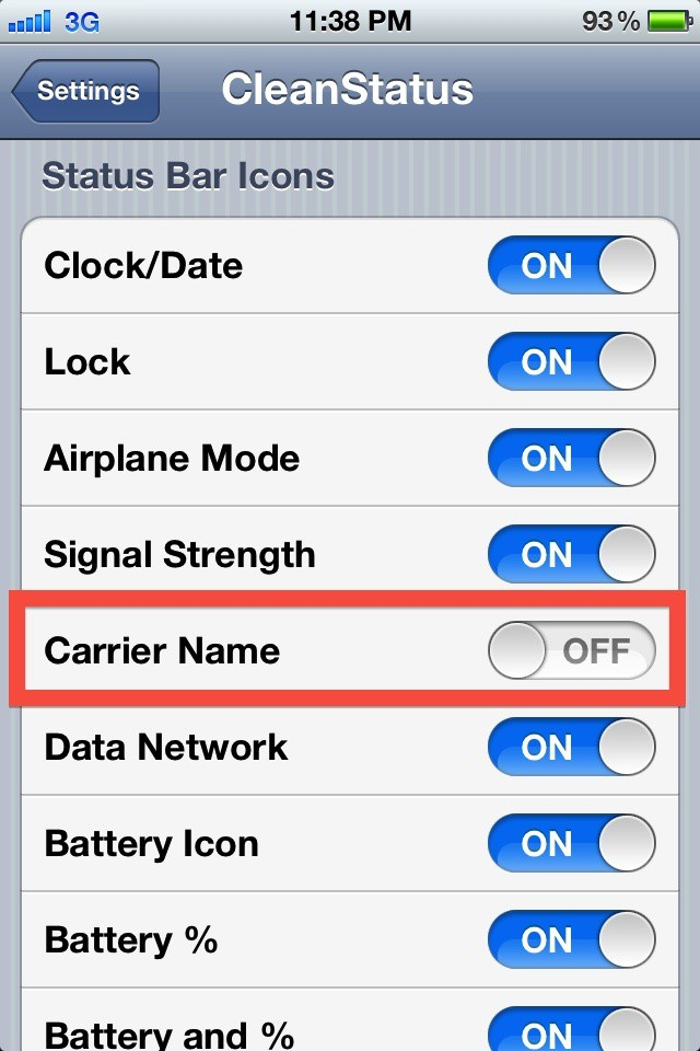 what are carrier settings for iphone how to hide carrier name in your iphone s status bar 6351