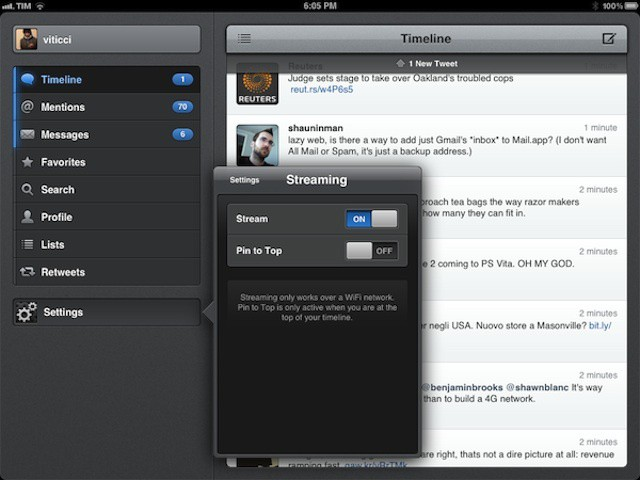 Tweetbot's new streaming option. Image courtesy of Macstories.net.