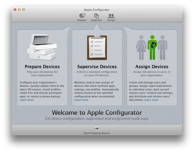 Apple Configurator's Intro Screen