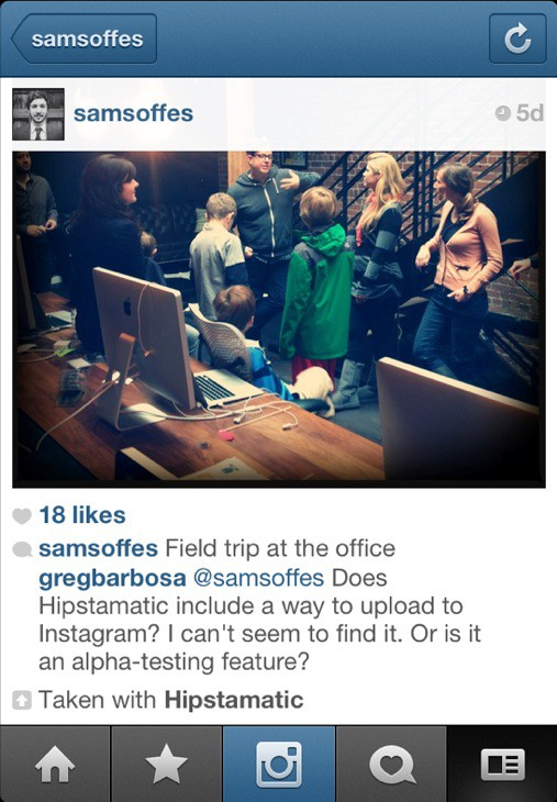 Lead Hipstamatic iOS engineer Sam Soffes sends a pic to Instagram