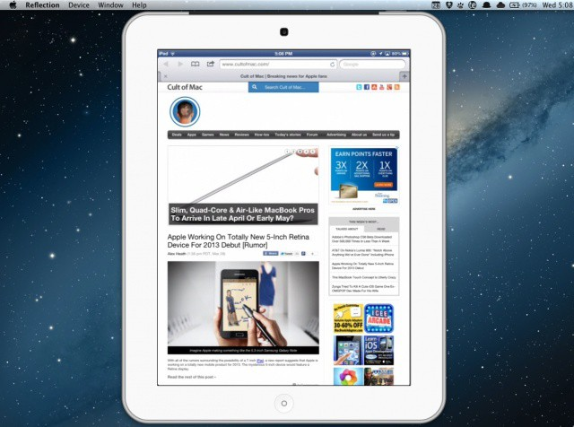 The new white iPad frame in Reflection 1.2 looks sexy.