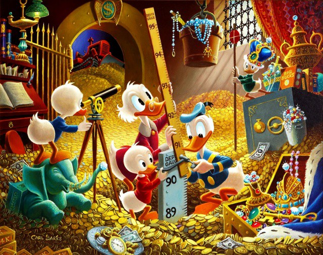 Scrooge-McDuck-Carl-Barks-for-Disney-Donald-Duck-with-Huey-Duey-and-louie