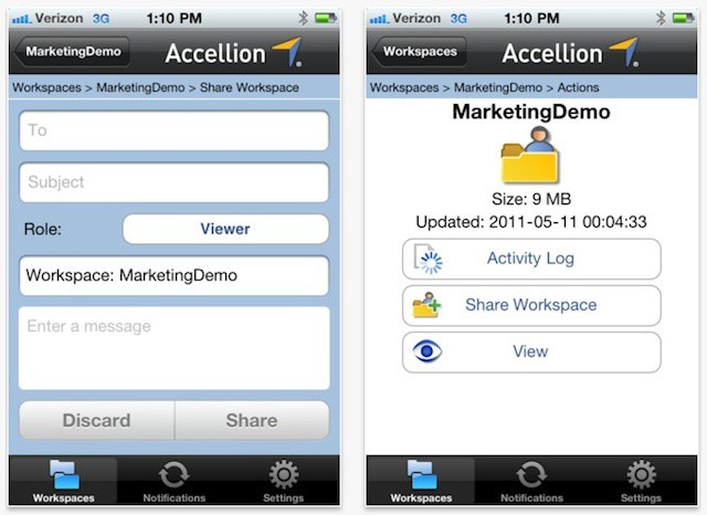 Accellion's iPhone app