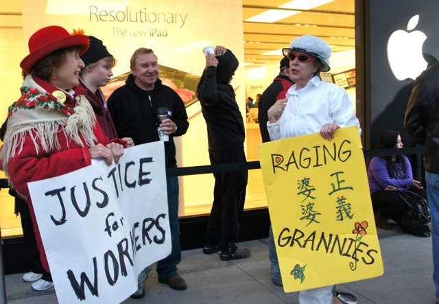 The Raging Grannies at the Palo Alto Apple store.