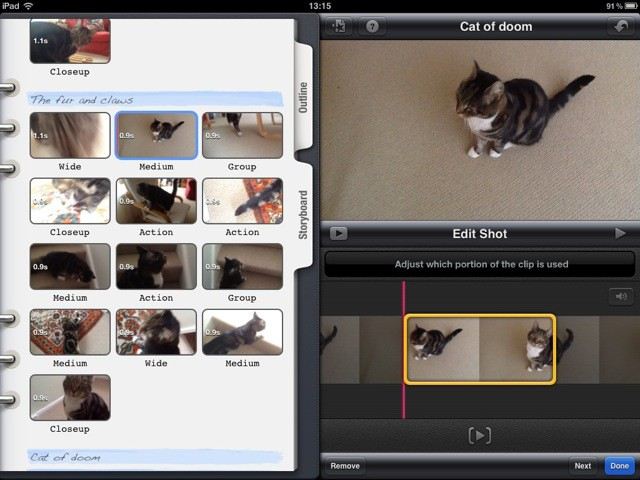 Editing a trailer in iMovie for iOS
