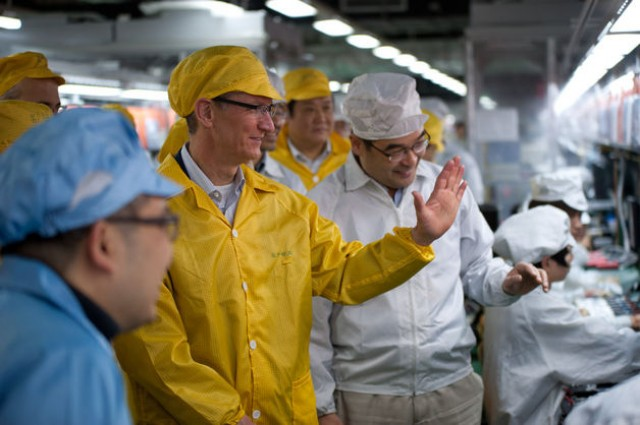 Tim Cook visits Foxconn, where Apple's iMacs are traditionally assembled.