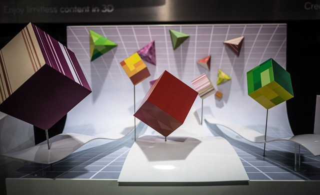 Given the numbers, LG might be better sticking to physical displays of 3-D like this one at the Mobile World Congress last week. Photos Charlie Sorrel (CC BY-NC-SA 3.0)