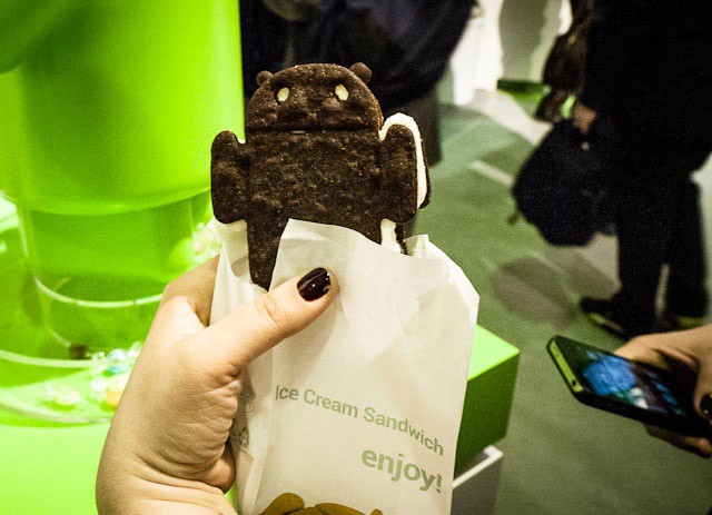 An Ice Cream Sandwich-shaped ice-cream sandwich. And an iPhone