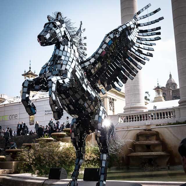 Pegasus. Made from phone screens