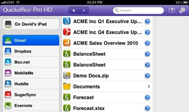 Quickoffice for iPad (ow available with business security features)