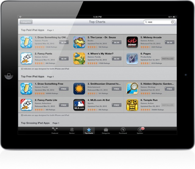 updated iPad top charts App Store