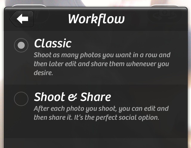 Workflow in Camera+3