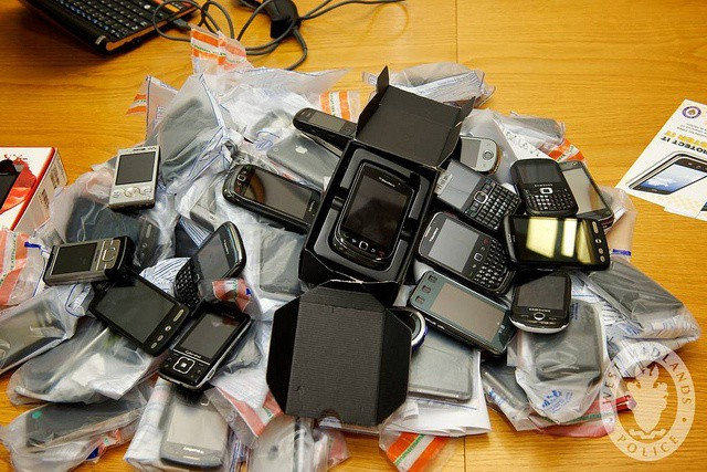 Stolen phones. Photo West Midlands Police  (CC BY-SA 2.0)