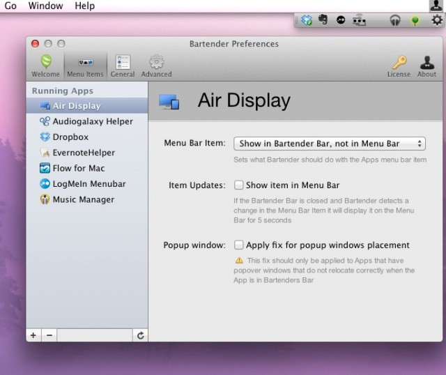 Bartender Menu Bar Apps