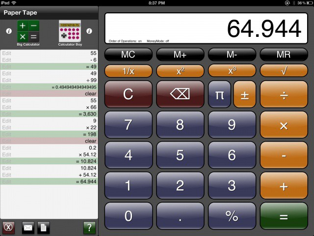 Add user-defined constants with pcalc rpn calculator for iphone.