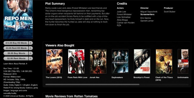 Movies from Universal, like 'Repo Men', are now available to re-download from iCloud.