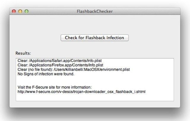 Forget confusing Terminal commands; Flashback Checker is the quickest and easiest way to detect the Flashback trojan.