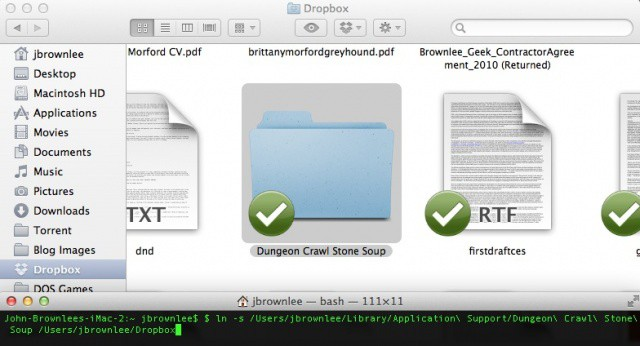Syncing any file or directory to Dropbox is easy using Terminal.
