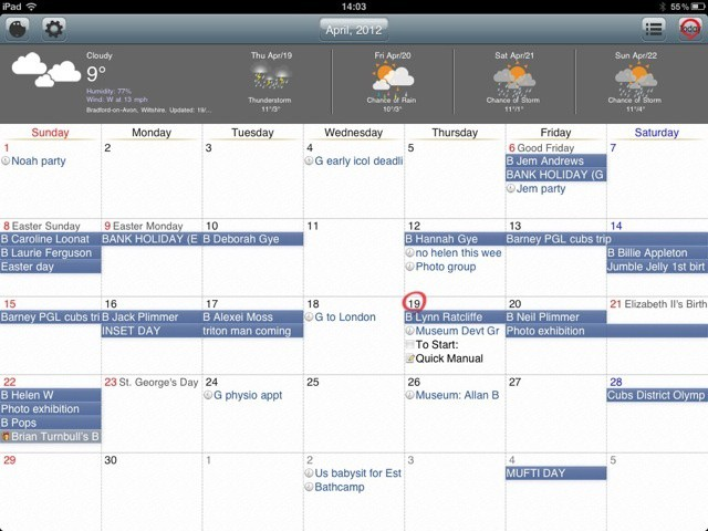 Month view in Awesome Calendar - but where's the new event button?