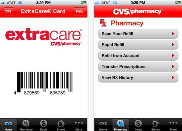 The CVS Pharmacy app now supports a virtual ExtraCare card