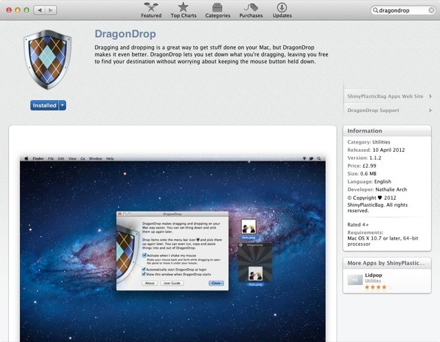 Where it belongs... DragonDrop in the Mac App Store