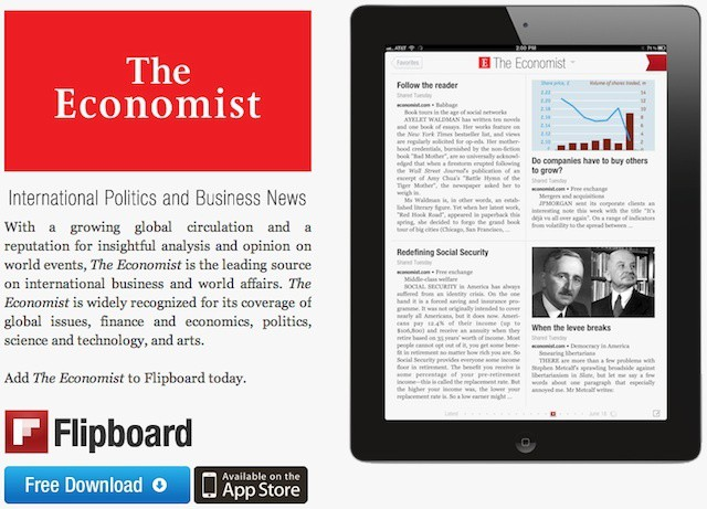 Despite a presence in Flipboard, The Economist's CEO sees the app as competition