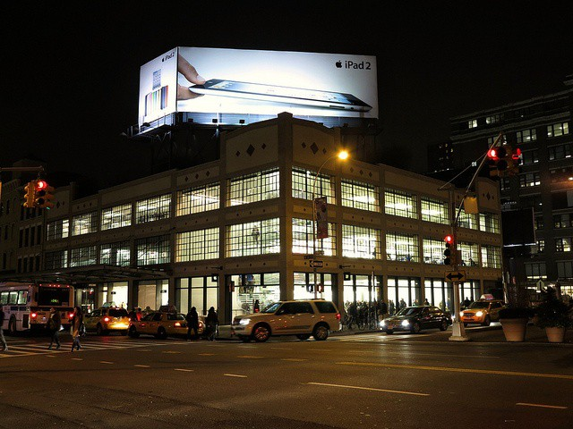 Here's the iPad 2 billboard that's still atop Apple's store in New York's Meatpacking district. If any billboard was advertising the new iPad, you'd think it'd be this one. Photo by thebiblioholic: http://www.flickr.com/photos/thebiblioholic/6842866712/