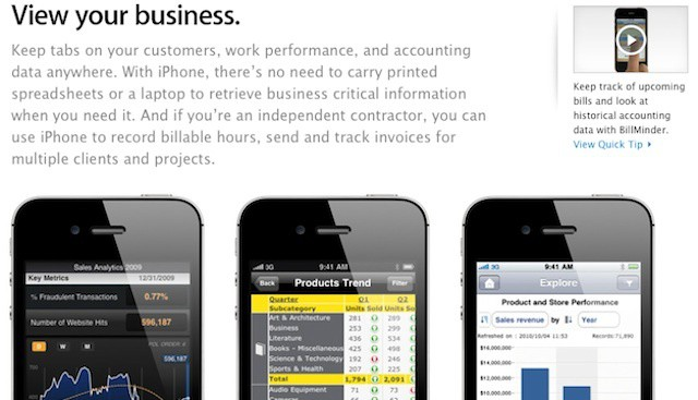 Apple adds page highlighting iPhone apps for business users