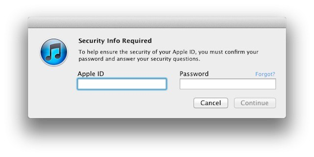 iTunes prompt for new account security questions