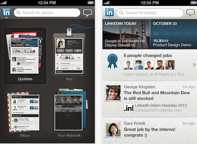 LinkedIn also optimized its app for the iPhone