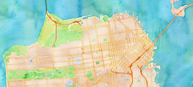 Stamen's gorgeous Watercolor tiles for OpenStreetMap (CC BY 3.0)