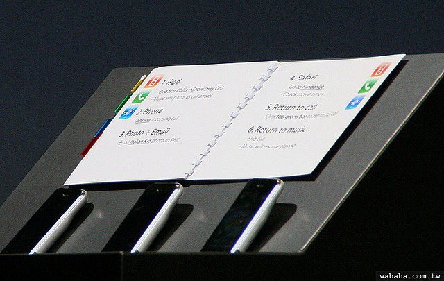 Steve Jobs's presentation notes for the original iPhone announcement.