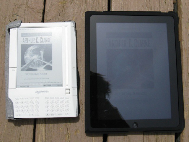 Amazon's Kindle is actually readable outdoors, while it's harder to use the iPad in the sun.