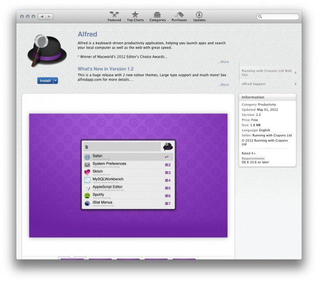 Alfred uses universal keyboard shortcuts to let you search for anything on your Mac.