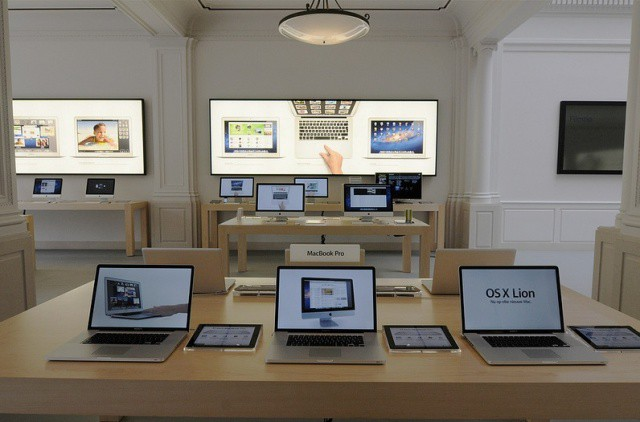 MacBook Pro displays at Apple's Amsterdam retail store