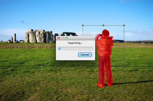 Can Inpaint4 remove this guy from Stonehenge?