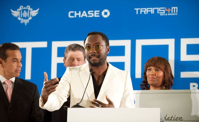 Singer will.i.am at the TRANS4M Boyle Heights launch.