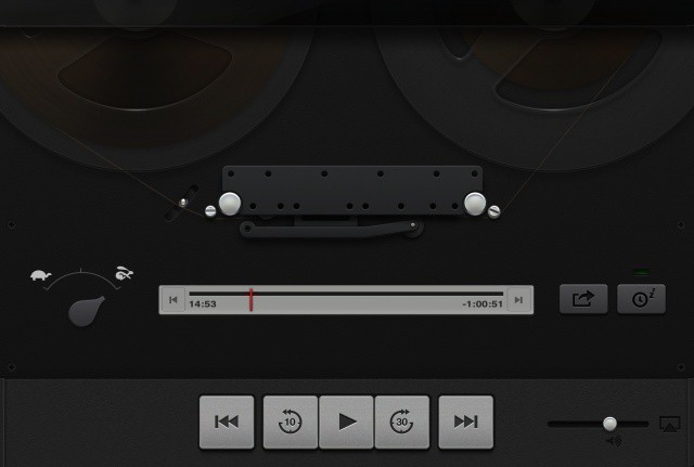 Towards the top of the Podcasts interface, you can even see the sliding plastic top, ready to cover the tape reels.