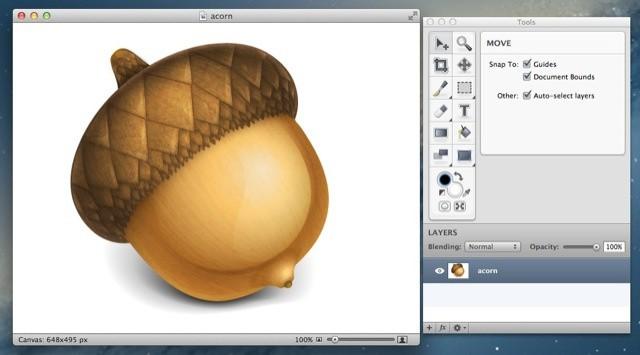 Acorn's acorn logo, in Acorn.