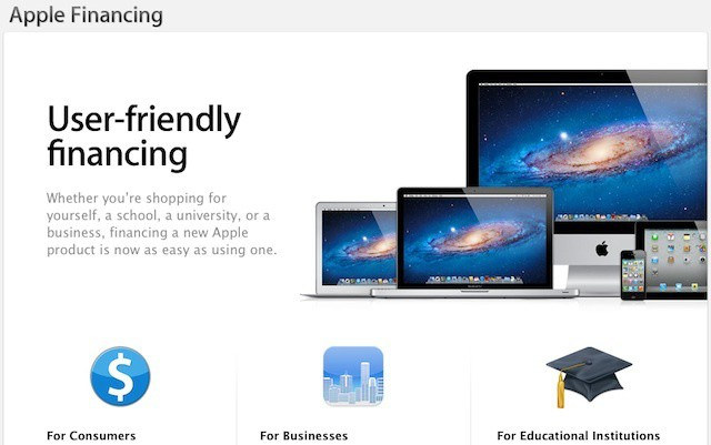 Apple offers a range of lease programs and financing for schools, colleges, and businesses